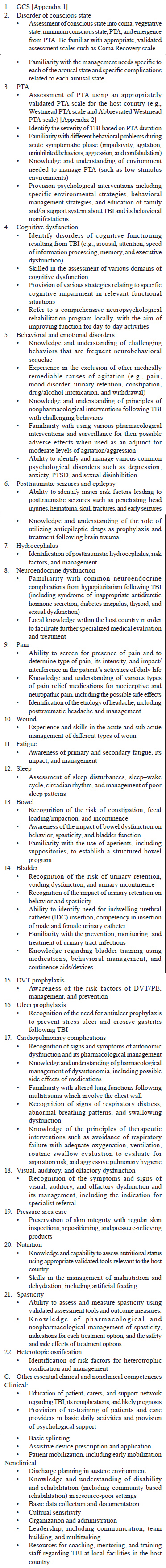 Minimum technical standards and recommendations for traumatic brain